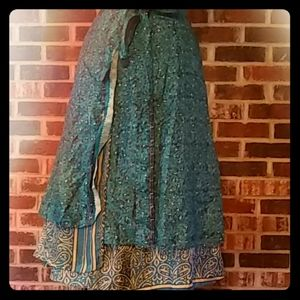 Dresses & Skirts - Silk Wrap Skirt Boho Hippie Gorgeous Blue Print